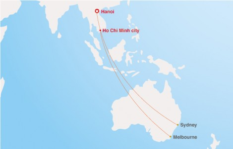 Fllying from Vietnam to Australia (Source: Ha Long Bay Luxury Travel)
